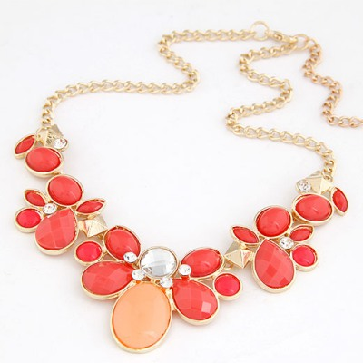 Bridesmaid Red gemstone flower Decorated Alloy Bib Necklaces