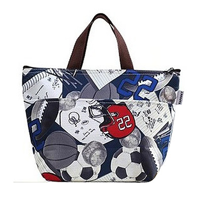 Varsity Dark Blue Thicken Lunch Box Design Oxford Fabric Shoulder bags