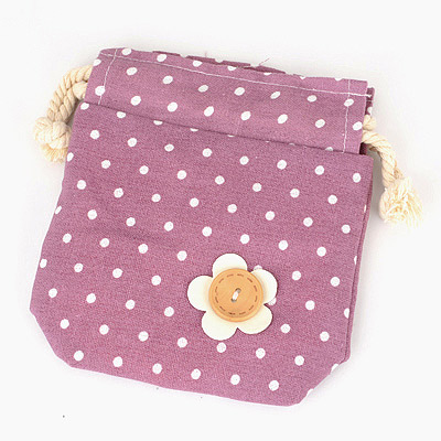 Chunky Purple Flower Dot Design Cotton Home Storage Bags