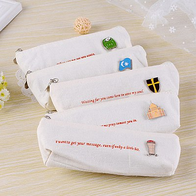 Graduation Color Will Be Random Simple Design Canvas Pencil Case Paper Bags