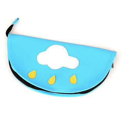 Monogramme Blue White Cloud Pattern Design Leather Pencil Case Paper Bags