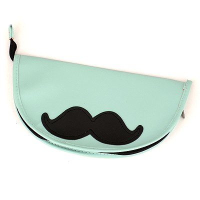 Micro Light Green Moustache Pattern Design Leather Pencil Case Paper Bags