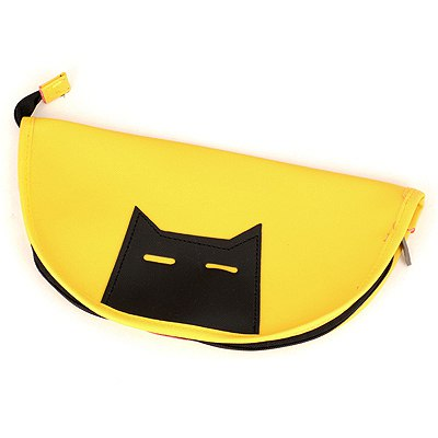 Hemp Yellow Black Cat Pattern Design Leather Pencil Case Paper Bags