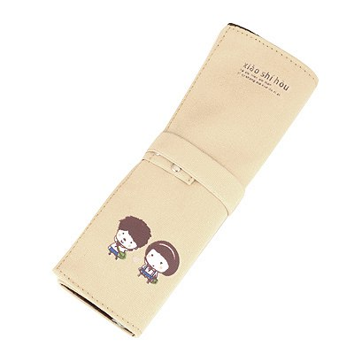 Standard Beige Roll With Button Design Canvas Pencil Case Paper Bags