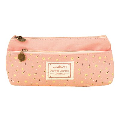 Top Rated Pink Double Zipper Design Linen Pencil Case Paper Bags