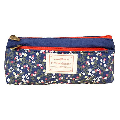 Rebel Navy Blue Double Zipper Design Linen Pencil Case Paper Bags