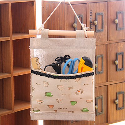 Formal Apricot Tableware Pattern Design Linen Home Storage Bags
