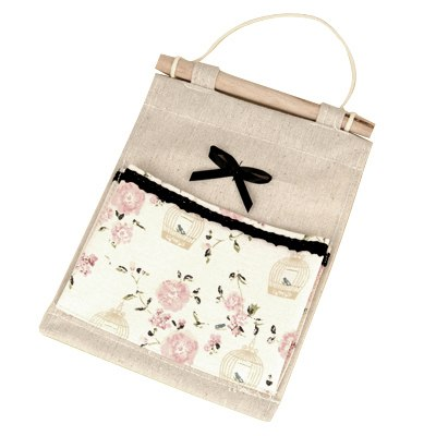 Fashion Apricot Bowknot&Birdcage Decorated Design Linen Home Storage Bags