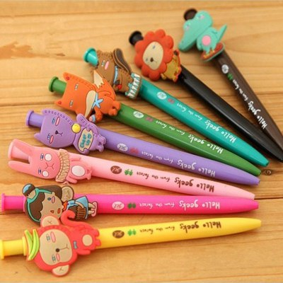 Oval Color Will Be Random Cartoon Animal  Design Plastic Writing Pens