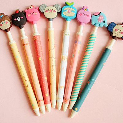 Metallic Color Will Be Random Cartoon Animal  Design Plastic Writing Pens