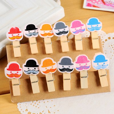 University Color Will Be Random Cartoon Old Man Head Design Wooden Wooden Clip