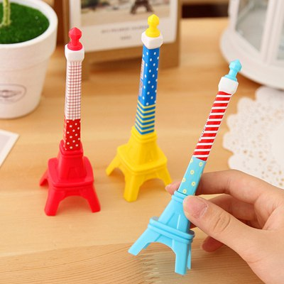 Womens Random Color Iron Tower Shape Design Plastic Writing Pens