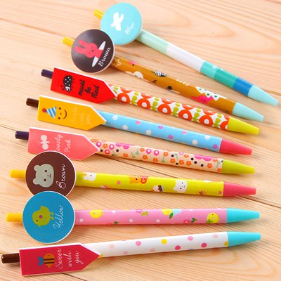 Inspiratio Color Will Be Random Cartoon Animal Pattern Design Plastic Writing Pens