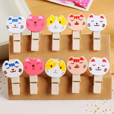 Luxury Color Will Be Random Cartoon Cat Decorated Design Wooden Wooden Clip