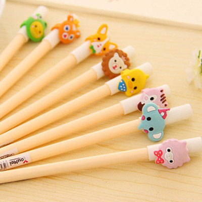 Mens Color Will Be Random Cartoon Animal Decorated Design Plastic Writing Pens