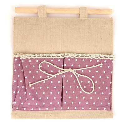 Free Purple Double Bags Dot Pattern Design Cotton Home Storage Bags