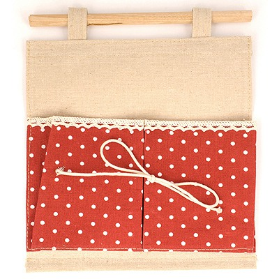 Handmade Red Double Bags Dot Pattern Design Cotton Home Storage Bags