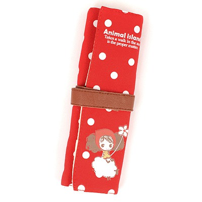 Healing Red Sheep Pattern  Design Canvas Pencil Case Paper Bags