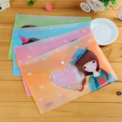 Sapphire Color Will Be Random Dream Girl Pattern Design PVC Pencil Case Paper Bags