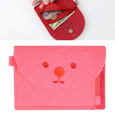 Stainless Watermelon Red Cute Expression Decorated Hang Rope Design Felt Wallet