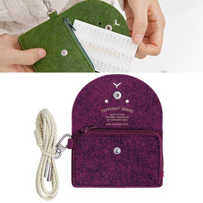 Bodybuildi Dark Purple Cute Expression Decorated Hang Rope Design Felt Wallet