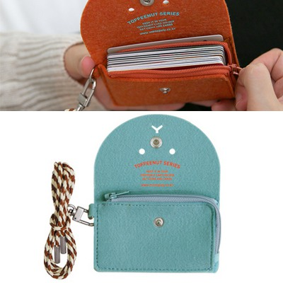 Friendship Mint blue Cute Expression Decorated Hang Rope Design Felt Wallet