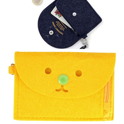 Lined Yellow Cute Expression Decorated Hang Rope Design Felt Wallet
