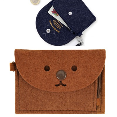 Eco Coffee Cute Expression Decorated Hang Rope Design Felt Wallet