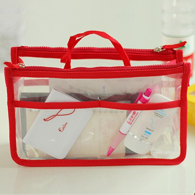 Kennedy Red Multipurpose Transparent Waterproof Design PU Home Storage Bags