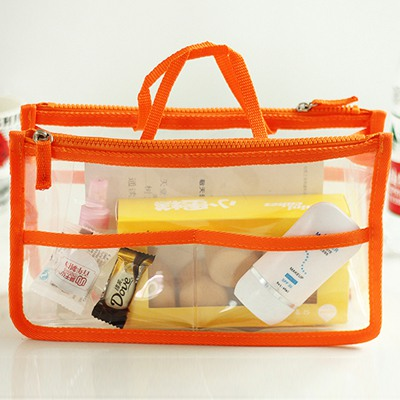 Sparking Orange Multipurpose Transparent Waterproof Design PU Home Storage Bags