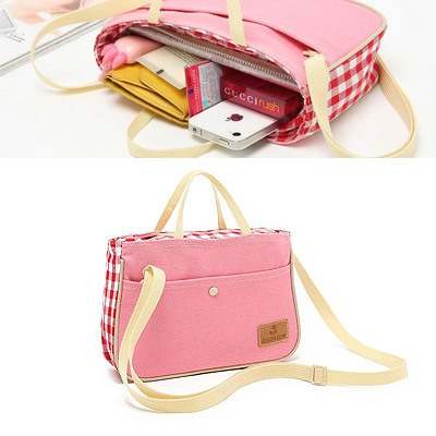 Pleated Pink Plaid Pattern Decorated With Shoulder Belt Design Canvas Shoulder bags