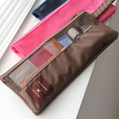 Stylish Coffee Visible Grid Multifunction Design Nylon Beauty tools
