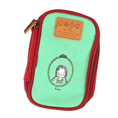 Lovely Green Cartoon Image Multipurpose Receive Bag Linen Pencil Case Paper Bags