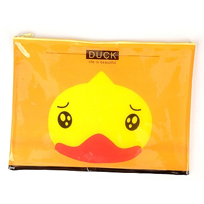 Flip Yellow Cartoon Animal Grid Multifunction A4 Paper Bag PVC Pencil Case Paper Bags