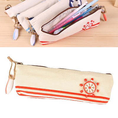 Free Red Navy Wind Series Style Canvas Pencil Case Paper Bags