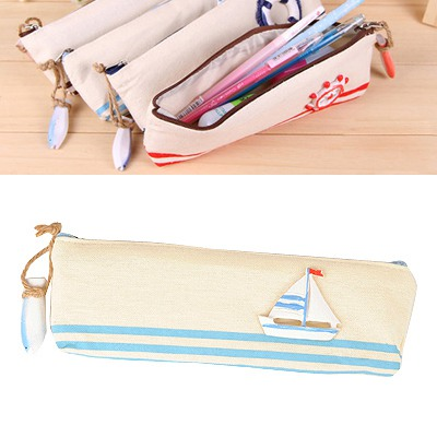 Smart Light Blue Navy Wind Series Style Canvas Pencil Case Paper Bags