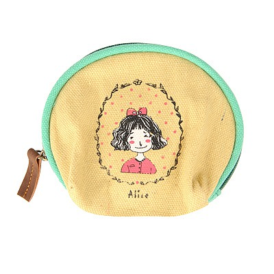 Satchel Ginger Cartoon Image Half-Circle Shape Design Cloth Wallet
