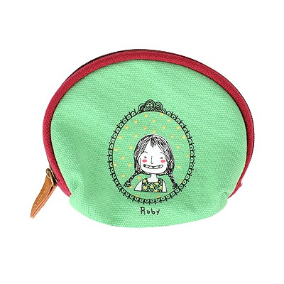 Electric Green Cartoon Image Half-Circle Shape Design Cloth Wallet