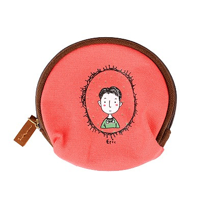 Short Red Cartoon Image Half-Circle Shape Design Cloth Wallet