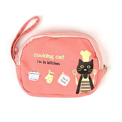 Patagonia Pink Cartoon Cat Pattern Double Zipper Design Canvas Wallet