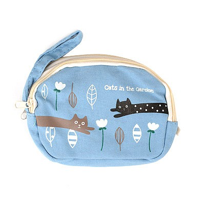 Drawstring Light Blue Cartoon Cat Pattern Double Zipper Design Canvas Wallet