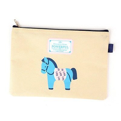 Charming Beige Wooden Horse Pattern A5 Paper Bag Oxford Fabric Pencil Case Paper Bags