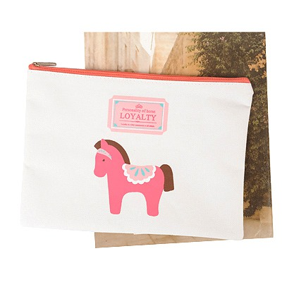 Indie White Wooden Horse Pattern A5 Paper Bag Oxford Fabric Pencil Case Paper Bags