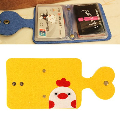 Mens Yellow Monster Pattern Card Holder Felt Fabric Household goods
