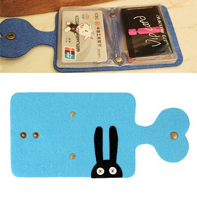 Photograph Blue Monster Pattern Card Holder Felt Fabric Household goods