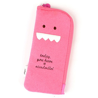 Sapphire Plum Red Cute Expression Multifunction Design Felt Fabric Pencil Case Paper Bags