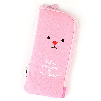 Profession Pink Cute Expression Multifunction Design Felt Fabric Pencil Case Paper Bags
