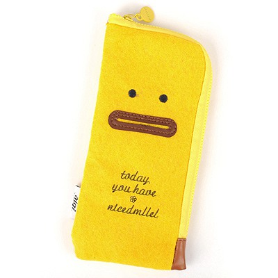 Charming Yellow Cute Expression Multifunction Design Felt Fabric Pencil Case Paper Bags