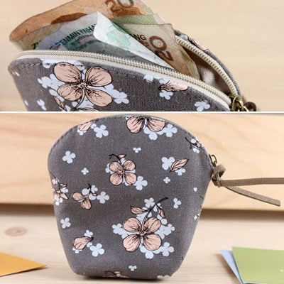 Plaid Gray Flower Pattern Coin Purse Canvas Wallet