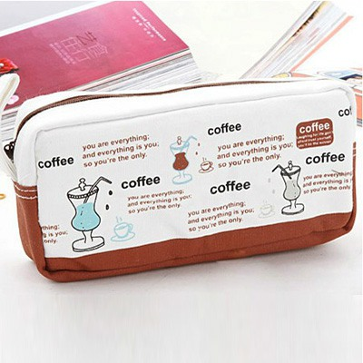 Lined Coffee Large Capacity Simple Design Canvas Pencil Case Paper Bags